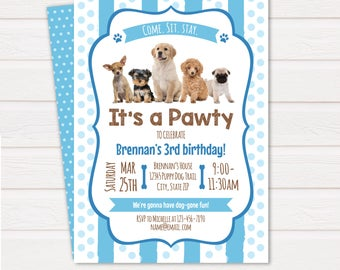 Puppy Invitations - Puppy Birthday Party Invitations - Puppy Themed Party Invitations - Dog Birthday - INSTANT DOWNLOAD - Edit NOW!!