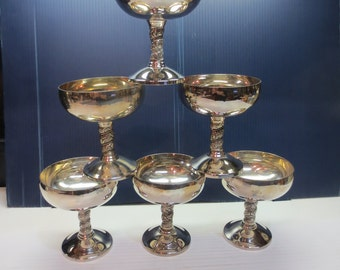 Silverplate Silver Champagne J. Perez Ruiz Wedding Sherbet Goblet Lot of 6