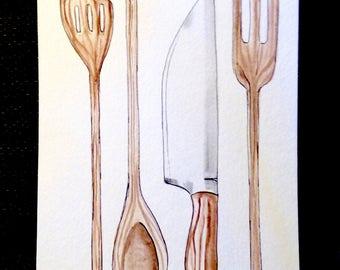 Wooden Utensils watercolor