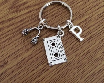 Music Lover Keychain - Initial Keychain - Personalised - Headphones and Cassette Tape