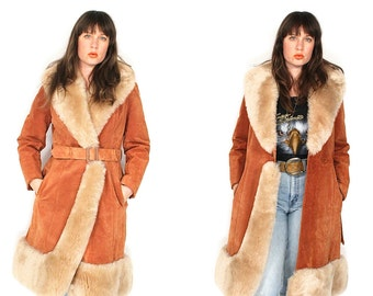 Vintage Penny Lane Coat - 70s Boho Hippie Suede Fur Collar Almost Famous Coat - 70s Almost Famous Rust Suede Belted Sheep Fur Trim Jacket
