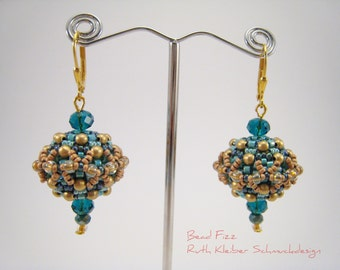 Beaded Beads Earrings Turquoise and Gold, Beadwoven Earrings, Turquoise Dangle Earrings, Bead Ball Dangles, Round Earrings, Beaded Balls