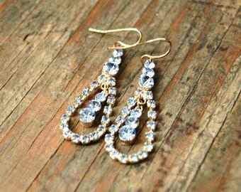 Austrian Crystal Earrings, Pale Blue Crystal Earrings, Something Blue, Something Old, Vintage Wedding Earrings, Blue Crystal Drop Earrings