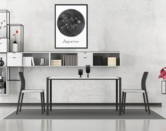 Aquarius Print, Aquarius Zodiac, Aquarius, Birthday Gift, Aquarius Constellation, Black and white, Living Room Decor, Minimalist Art Print