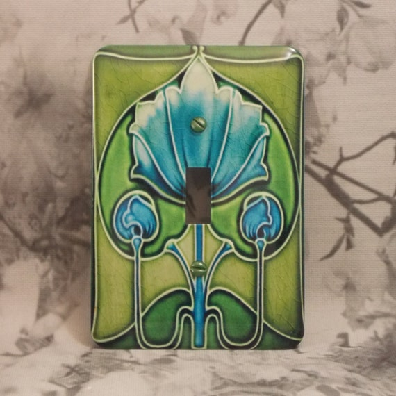 Metal Deco Light Switch Cover Blue And Green Art Nouveau