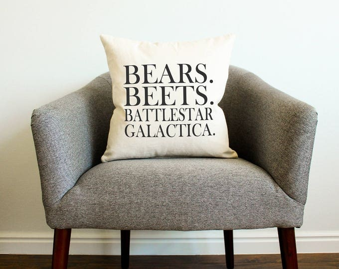 "Dwight Schrute The Office TV SHOW ""Bears. Beets. Battlestar Galactica"" Pillow - Gift for Her, Gift for Him, Home Decor, Throw Pillow"