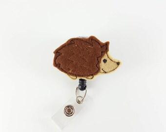 Hedgehog - Felt Badge Reel - Nurse Badge Holder - Retractable ID Badge - RN Badge Reel - Pediatric - Teacher - Badge Clip - Name Badge Reel