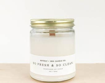 SO FRESH & so CLEAN Scented, Hand Poured, Wood Wick Soy Candle | 9oz | Gift