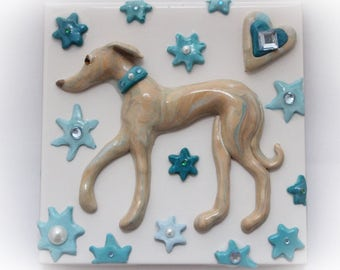 Greyhound Whippet Wall Art Tile