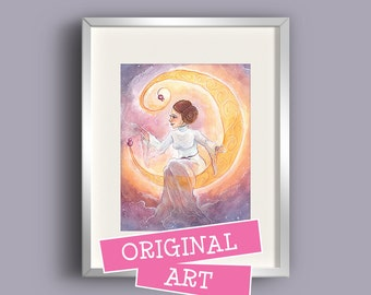 The Transcendence of Princess Leia • ORIGINAL ART • Star Wars tribute mixed media watercolor painting • 11x14 one-of-a-kind illustration