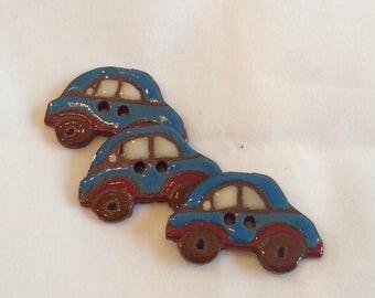 Ceramic Buttons - Blue Car Button - Automobile Button - Ceramic Car