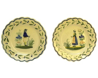 Pair of Antique Henriot Quimper Pottery Wall Plates with Breton Man & Woman Portraits. Hand Painted French Faience Plates.