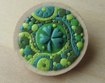 St. Patrick's Shamrock Lucky Four 4 Leaf Clover Brooch, Handmade Polymer Clay Mosaic Pin Badge, St. Patricks Lucky Clover Gift, Green Mosaic