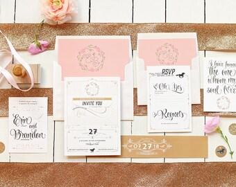 Romantic & Rustic Wedding Invitations - Kentucky Derby Horses Wedding Invites - Printable DIY Layered Invitations - Rustic Chic Wedding
