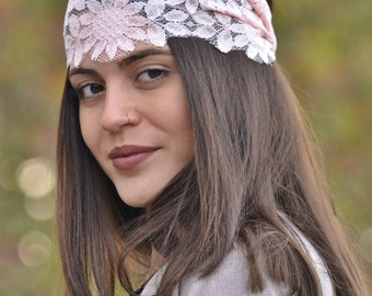 Lace Headband, Pink Headband, Bohemian Headband, Elegant Headband, Bridesmaid Headbands, Womens Turbans, Womens Headbands, Vintage Headbands