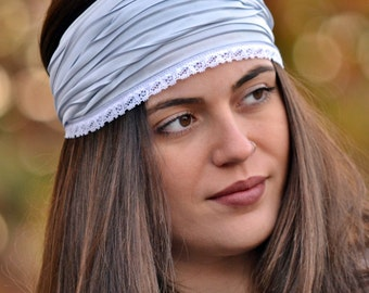 Unique Headbands, Grey Headband, Head Wrap, Elegant Headbands, Wide Headband, Womens Turban, Turban Headband, Pleated Headbands, Modern Gift