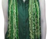 Green Shamrock Scarf, St Patrick's Day, Four Leaf Clover, Olive Green Scarf, Shamrock Necklace Scarf, Detachable Pendant, Fringe Scarf