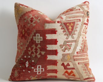 80 years old bohemian pillow, vintage kilim pillow cover, 16x16 handwoven wool pillow