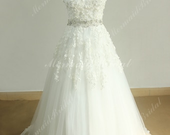 Keyhole back romantic A line lace wedding dress with 3D lace flowers and beading sash