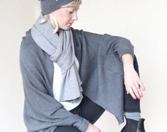 Oversize knitcardigan, gray, Merino extrafine