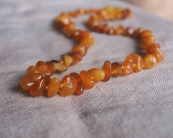 Baltic Amber Teething Necklace for your Baby cream honey antique amber baroque beads