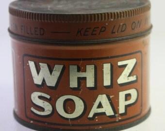 Vintage Whiz Soap Tin. ca 1920