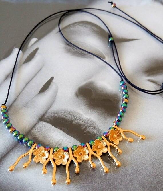 Rainbow hematite necklace,hematite necklace, flower necklace, delicate necklace, flower branch necklace, adjustable necklace,boho necklace