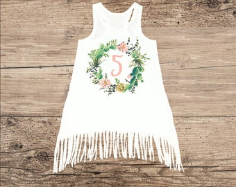 Cactus Wreath Dress for Toddler or Baby, 5th Birthday