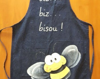 Apron in devin, bee, gift, decoration, adult, handpainted, bee apron