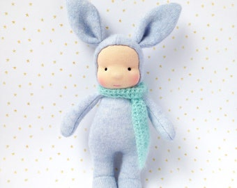 Waldorf bunny doll - handmade bunny doll - Plush bunny - Cashmere rabbit doll - Steiner doll 10inch - Gift for kids