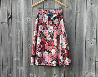 Vintage 70s bright floral circle wrap skirt, small-medium