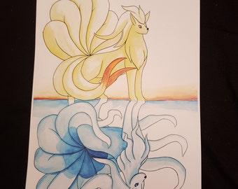 Ninetales reflected - watercolour print