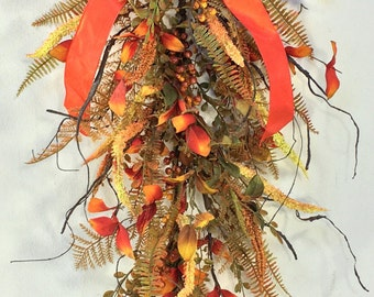 Fall Swag, Fall Wreath, Autumn Swag, Autumn Door Decor, Door Swag, Fall Door Swag, Fall Wreaths, Thanksgiving, Orange Swag, Harvest Swag