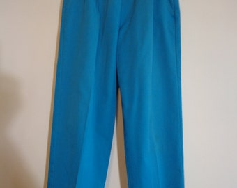 Bright Turquoise Vintage 90s Elastic Waist Pants Jeans, Colorful Retro Fashion with Pockets