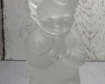 Praying boy bookend or paperweight  by Viking Glass  - original label
