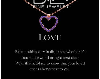 DTLA Heart Necklace in Rose Gold Plated Sterling Silver with Inspirational Love Message Card - Blue CZ
