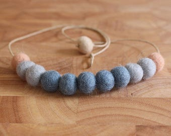 Felt Ball Necklace // Grey & Peach // Haze