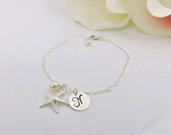 FREE US Ship Sterling Silver Starfish Bracelet Personalized Starfish Bridesmaid Bracelet Beach Wedding Custom Starfish Bridesmaid Gift