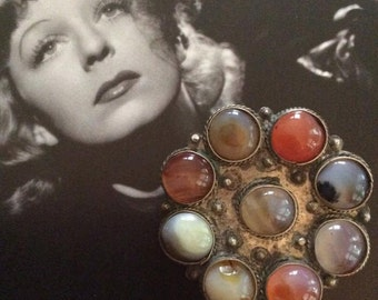 Vintage 1970s 1980s Brooch Pendant Combo Silver Tone Color Metal Beautiful Colorful Stones