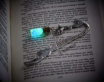 Mermaid Glow in the Dark Bookmark Silver Mermaid Bookmark Conch Shell Green and Blue Glow in the Dark Pebbles