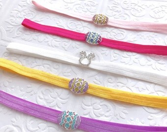 The Crystal Egg and Bunny Headbands or Clips- Your Color Choice