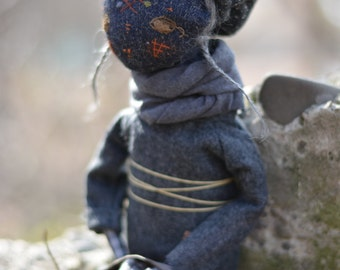Pixie elf doll - Woodland  girl - Handmade doll - Textile toy - Halloween doll- Exrime primitive - Embroidered insect - Fantasy doll.