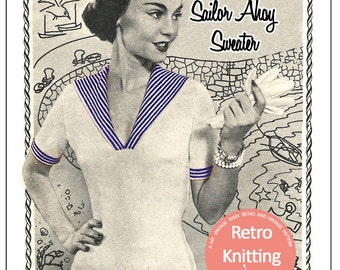 1950s Sailor Ahoy Pin Up Sweater Vintage Knitting Pattern - PDF Knitting Pattern -  Instant Download