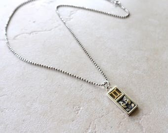 Gemini Zodiac Necklace, Sterling Silver Gemini Charm, Faceted Oxidized Sterling Silver Chain, Gemini Jewelry, Gemini Jewellery