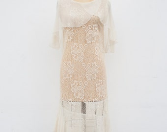 vintage 1920s lace capelet wedding dress | XS/S