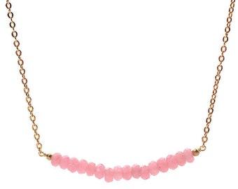 Pink Jade Necklace. Pink Gemstone Necklace. Pink Gemstone Bracelet. Cute Pink Necklace. Gold Pink Gemstone. Curve Gold Bar Necklace
