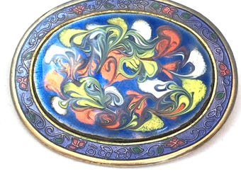 Multicolored Marbled Enamel Oval Brooch, Blue Yellow & Orange Swirled Paint Pin, Abstract Marble Gold Tone Brooch, Bright Colors Showy