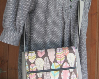 Cross Body Purse / Tote in Gray Linen & Feather Print with Aqua Chevron Lining - Organizer, Adjustable Strap, Lots of Pockets, Zip Pockets