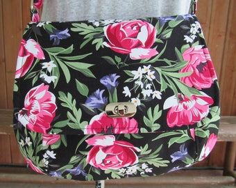 Cross Body Bag / Saddle Bag / Purse in Floral Fabric - Shoulder Bag, Flowers, Roses, Red, Pink White, Green, Purple, Flap, Turn Lock
