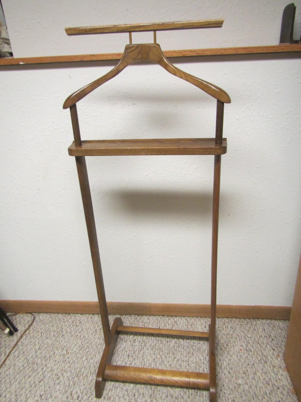Wooden Valet Stand ~ Vintage wood valet butler suit stand clothes oak